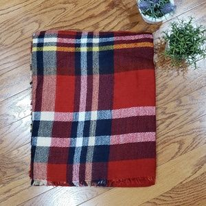 Plaid Blanket Scarf Fringed Ends Red Navy Blue
